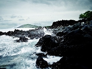 sea, Waves, rocks