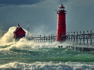Waves, Storm, sea, Lighthouse