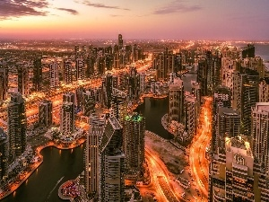 Dubaj, west, Bridges, skyscrapers, sun, clouds, roads