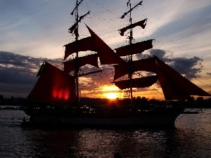 west, sun, sailing vessel
