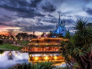 west, Disneyworld, Castle, Park, sun, entertainment
