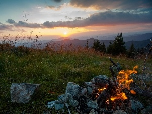 west, woods, fire, sun, Mountains