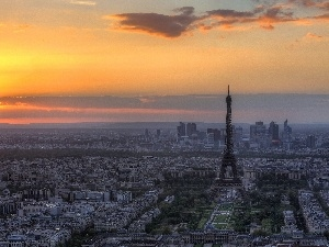 west, Eiffla, Paris, sun, tower