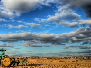whale killer, cultivated, agrimotor, clouds, field