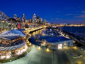 wharf, Marina, Yachts, Seattle, Restaurant, night