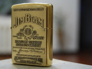 Whiskey, Jim Beam, Golden automobile, lighter