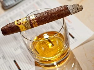 Whisky, cigar, A glass