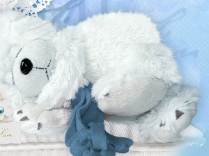 White, teddy bear, sleepy