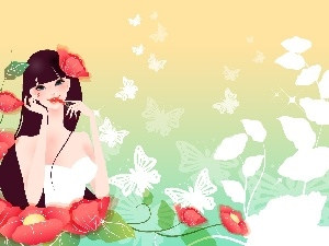White, Flowers, lipstick, girl, butterflies, Red