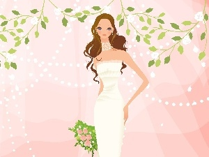 White, bouquet, lady, dress, young