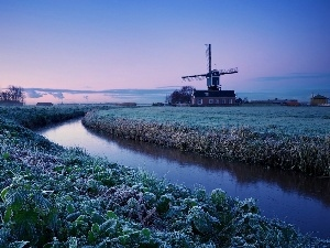 White frost, Windmill, field, River