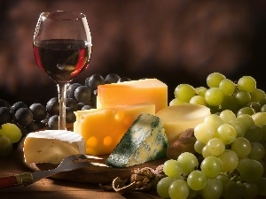 Grapes, White, glass, Black, board, cheeses, Wines, nuts