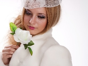 White, hat, Beauty, rose, Women