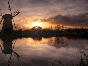 Windmill, lake, west, sun