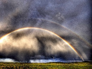 Windmills, Great Rainbows, clouds, Double