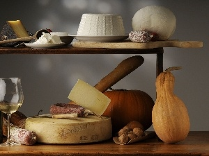 Wine, cheeses, different, calabash, Tastes