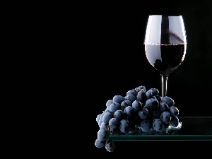 glass, Wine, Grapes
