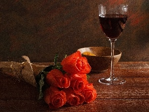 glass, Wine, roses