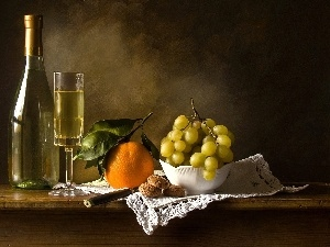 Wine, Bottle, Grapes, orange