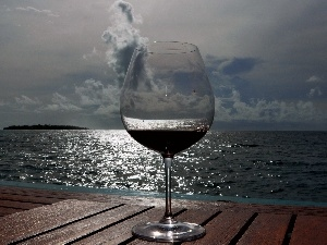 wine glass, pier, cloudy, Wines, sea