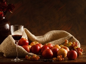 Wines, wine glass, apples, composition, Grapes