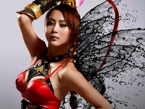 Asian, wings, Women