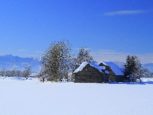 winter, Mountains, field, Houses