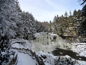 winter, River, forest, waterfall