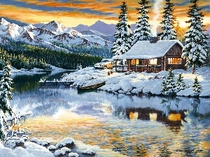 winter, Mountains, lake, house