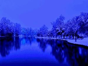 lake, winter, Park