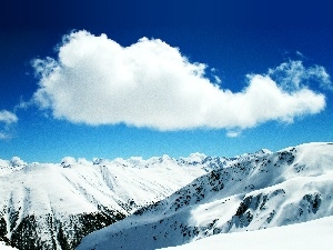 winter, cloud, Mountains, White