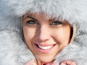 winter, Fur, smiling, portrait, Women