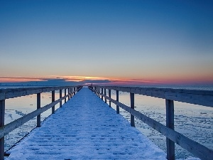 winter, pier, Great Sunsets, sea