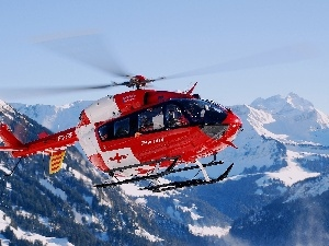 winter, Helicopter, Switzerland, Mountains