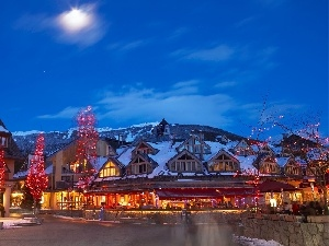 winter, Mountains, Town, Restaurant