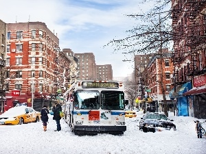 snow, bus, Automobile, The United States, People, New York, winter