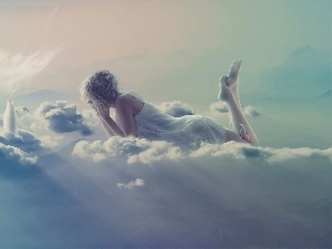 angel, Women, clouds