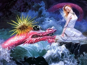 Dragon, Women, Pink