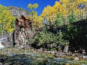 wooden, viewes, rocks, River, Home, trees