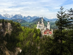 woods, Mountains, Castle, Neuschwanstein