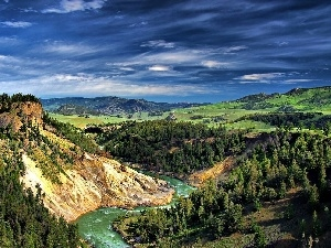 woods, Mountains, River, Sky, canyon