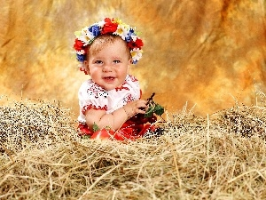 wreath, Hay, happy, girl