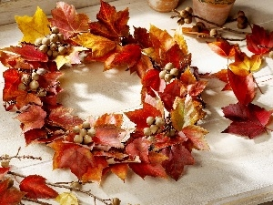 Leaf, wreath, Autumn