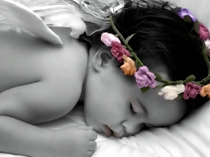 wreath, girl, small, the sleeping