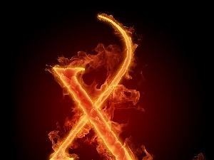 letter, X, Fire