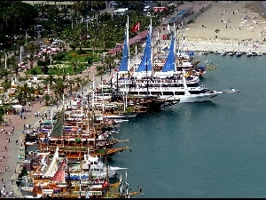 VEGETATION, Yachts, Harbour, Antalya, boulevard, sea, wharf