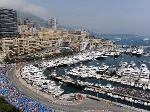 Yachts, town, port, Monaco, vessels, panorama