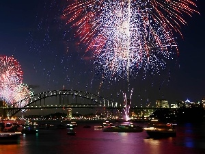 year, New, Sydney, fireworks, bridge