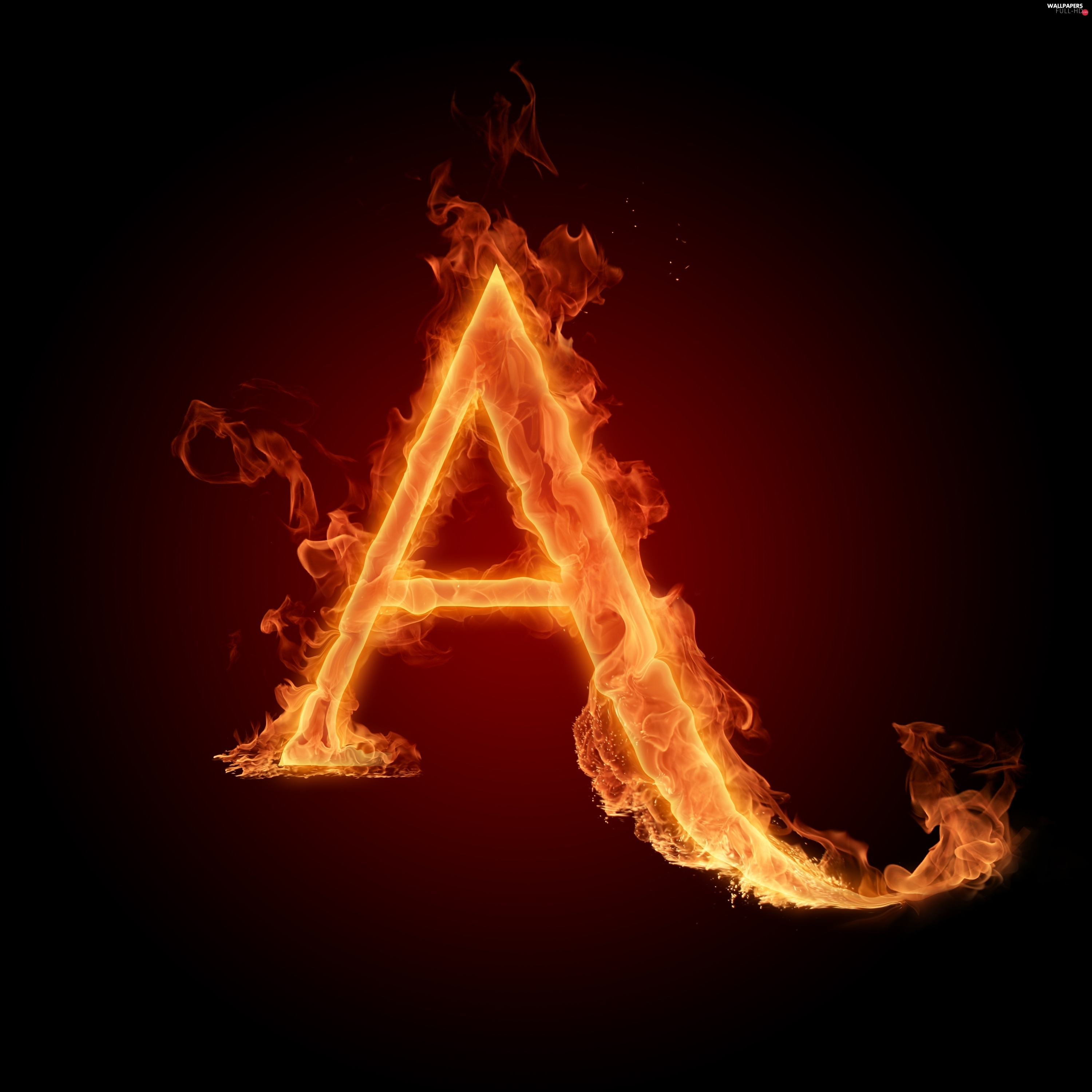 letter, A, Fire