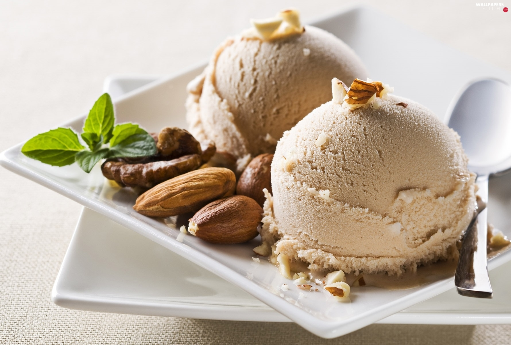 almonds, nuts, dessert, ice cream